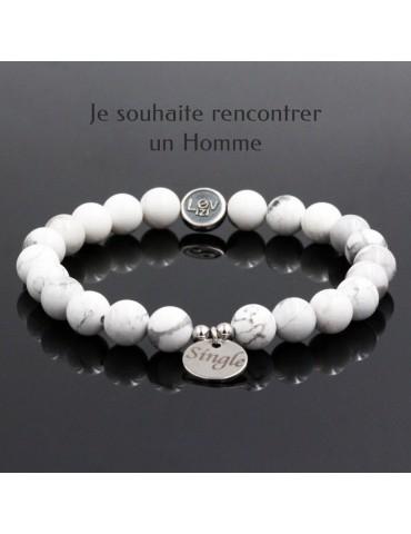 Lovizi - Bracelet de rencontres pour célibataires, en pierre naturelles et argent